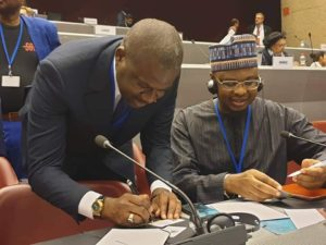 Communication's Minister, Dr. Isa Ali Ibrahim Pantami Signs Resolution on Behalf of Nigerian Government